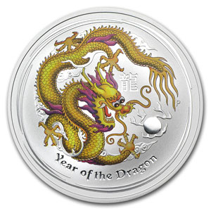 2012 1oz Silver Lunar DRAGON - COLOURED ANDA Melbourne Show